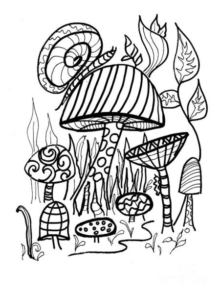 Drawing - Snail On Mushroom For Coloring  by Robin Maria Pedrero