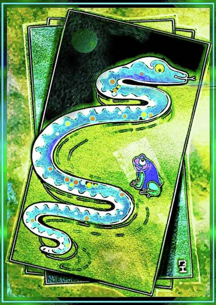 Drawing - Snake And Frog Friends by Hartmut Jager