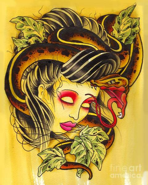 Tattoo Flash Painting - Snake Head Girl by Lauren B