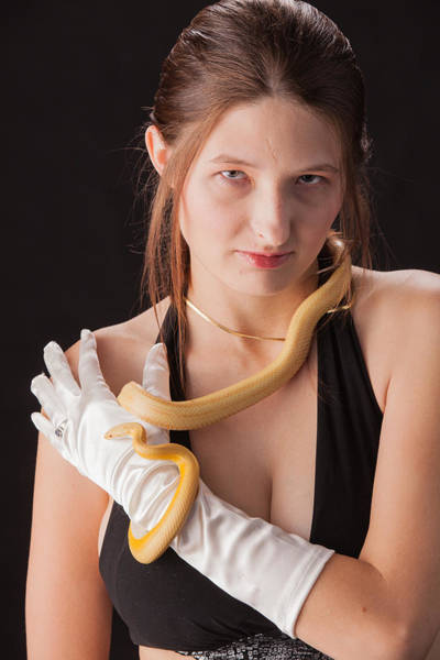 Photograph - Snake Lady Or Girl With Live Snake Photograph 5253.02 by M K Miller