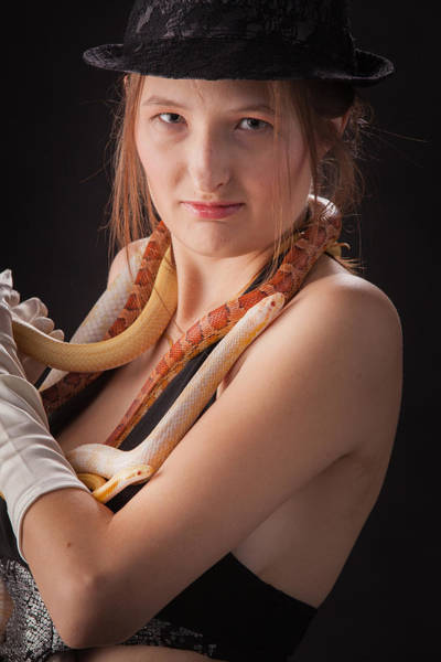 Photograph - Snake Lady Or Girl With Live Snake Photograph 5254.02 by M K Miller