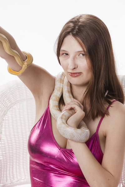 Photograph - Snake Lady Or Girl With Live Snake Photograph 5268.02 by M K Miller