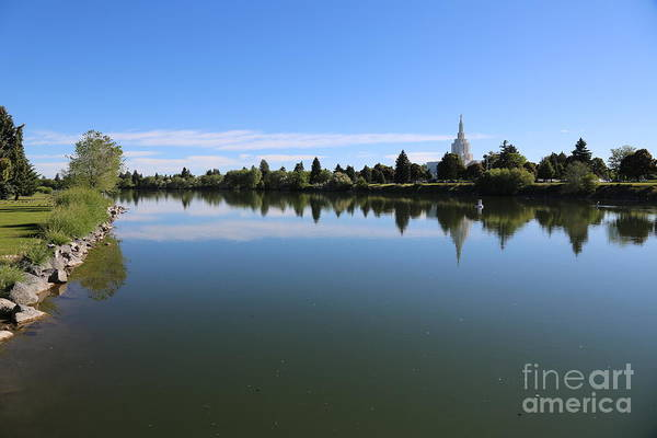 Photograph - Snake River In Idaho Falls With Lds Temple by Carol Groenen