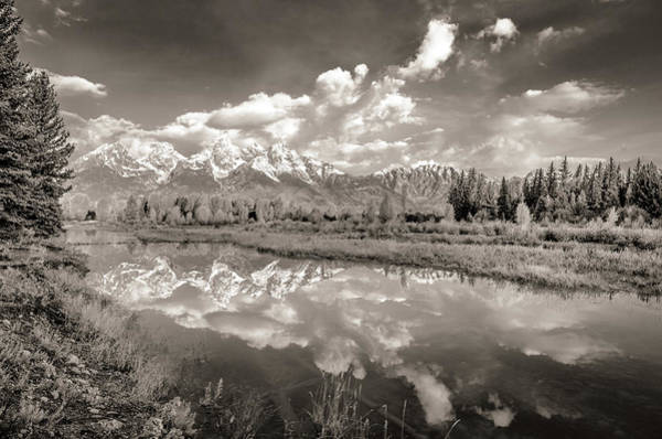 Wall Art - Photograph - Snake River Reflection Grand Teton Monochromatic by Scott McGuire