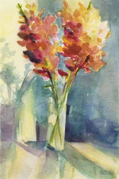Framed Painting - Snapdragons In Morning Light Floral Watercolor by Beverly Brown