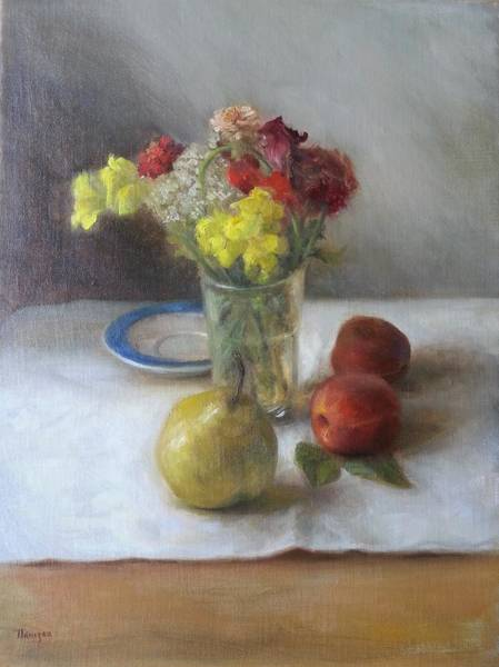 Snapdragons Painting - Snapdragons, Peaches, Pear by Thimgan Hayden