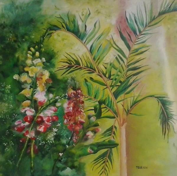 Snapdragons Painting - Snapdragons With Palm by Fabio Tedeschi