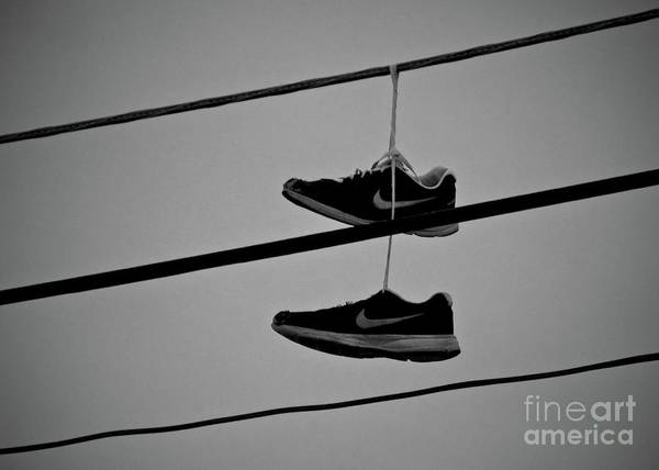 Wall Art - Photograph - Sneakers On Wires by Mark Miller
