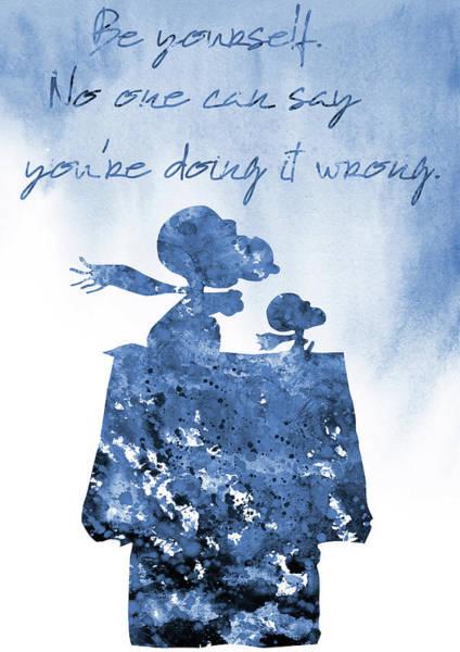 Wall Art - Digital Art - Snoopy And Woodstock-blue by Erzebet S