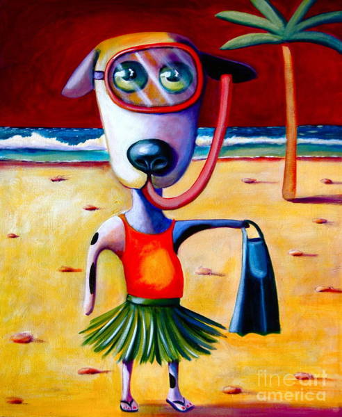 Wall Art - Painting - Snorkel Pup by Mary Naylor