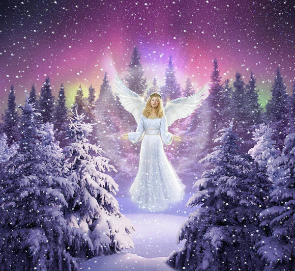 Floating Wall Art - Digital Art - Snow Angel by Jerry LoFaro