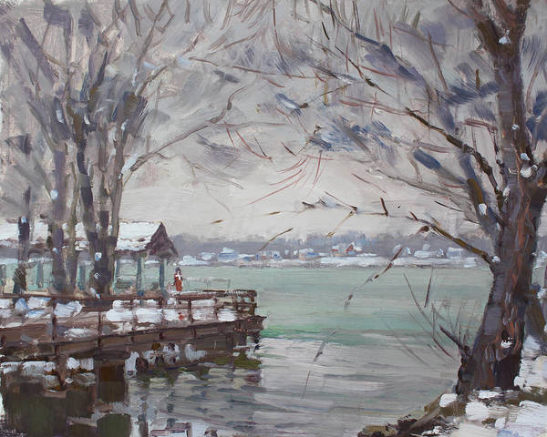 Wall Art - Painting - Snow At Fishermans Park by Ylli Haruni