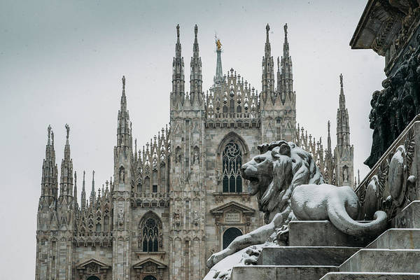 Photograph - Snow At Milan's Duomo Cathedral  by Alexandre Rotenberg