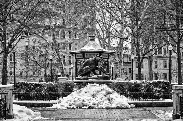 Rittenhouse Square Wall Art - Photograph - Snow At Rittenhouse Square In Black And White by Bill Cannon