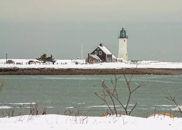 Snow At Scituate Lighthouse Art Print