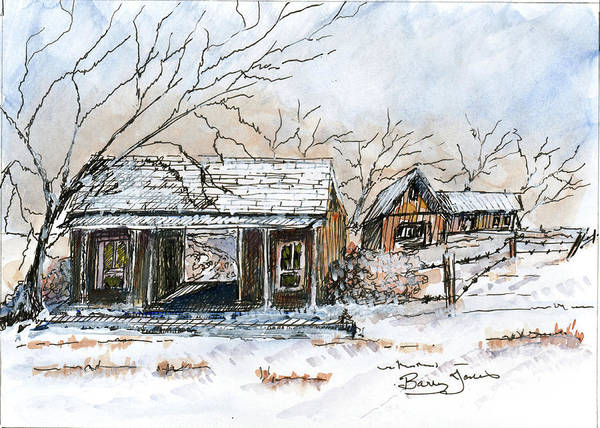 Mixed Media - Snow At The Dog Trot by Barry Jones
