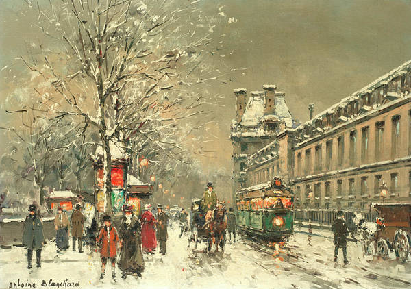 Wall Art - Painting - Snow At Twilight by Antoine Blanchard
