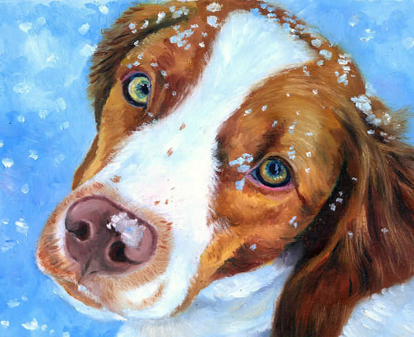 Wall Art - Painting - Snow Baby - Brittany Spaniel by Lyn Cook