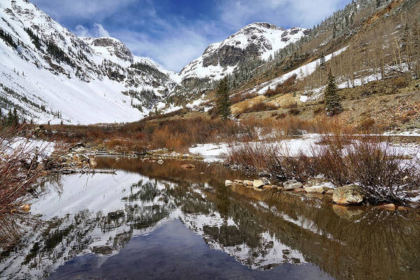 Photograph - Snow-capped Refections by Leda Robertson