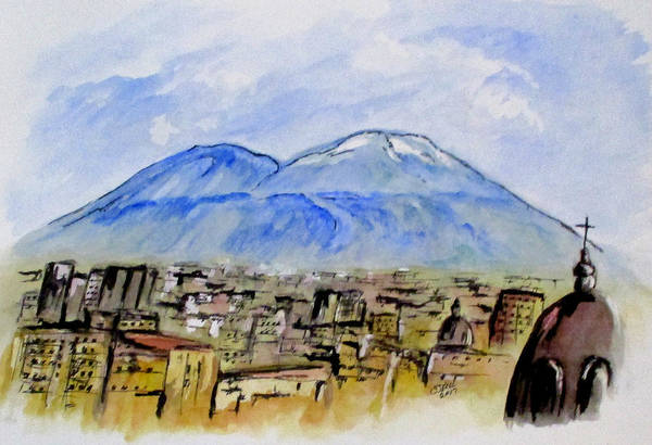 Painting - Snow Capped Vesuvio by Clyde J Kell