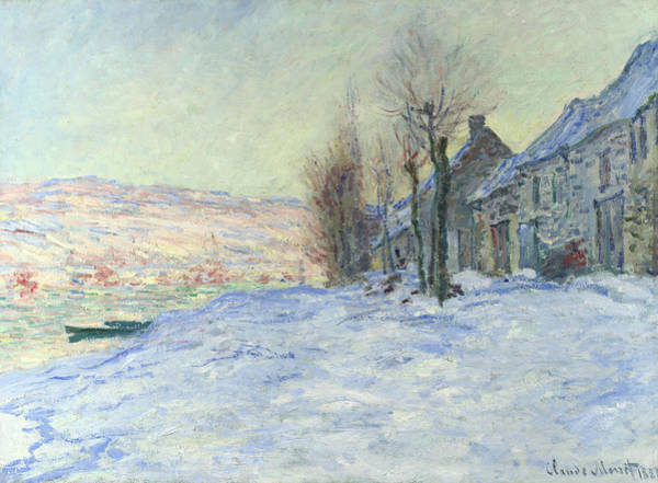 Waterway Painting - Lavacourt Under Snow by Claude Monet