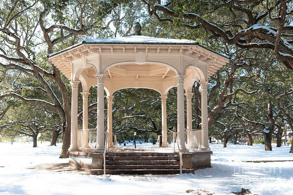 Photograph - Snow Covered Gazebo by Dale Powell