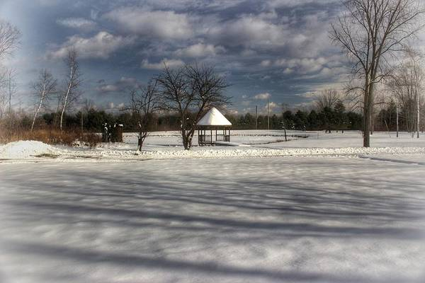 Photograph - 2503 - Snow Covered Gazebo In Winter Setting by Sheryl Sutter