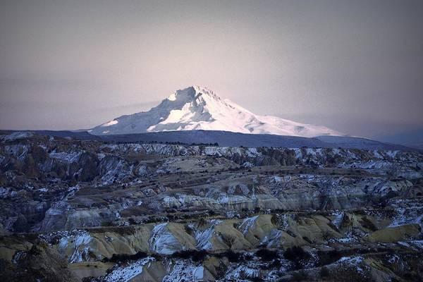 Eastern Anatolia Photograph - Snow Covered Mount Erciyes. Central Anatolia, Turkey.  No.2 by David Lyons