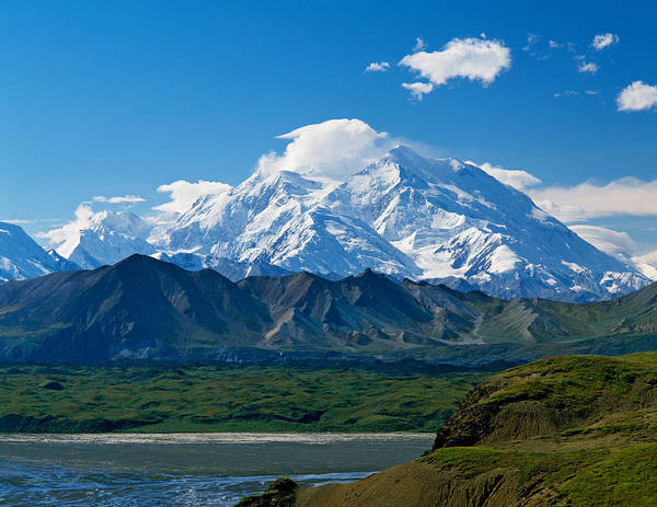 Imposing Wall Art - Photograph - Snow-covered Mount Mckinley, Blue Sky by Panoramic Images