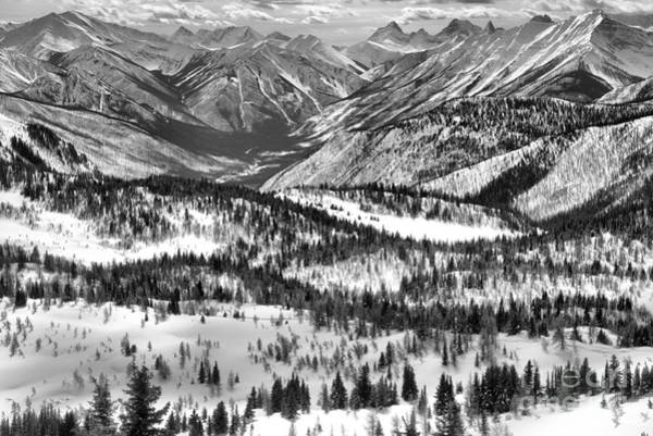 Photograph - Snow Covered Peaks And Valleys Black And White by Adam Jewell