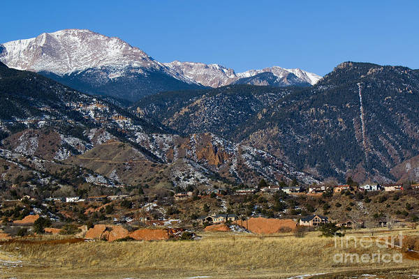 Photograph - Snow Covered Pikes Peak And The Manitou Incline by Steve Krull