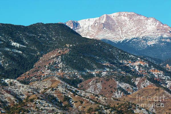Fourteener Photograph - Snow Covered Pikes Peak  by Steve Krull