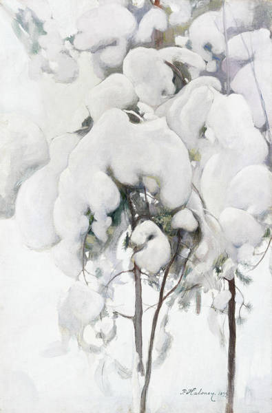 Painting - Snow-covered Pine Saplings by Pekka Halonen