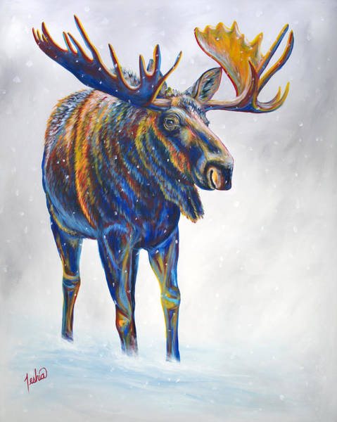 Colorado Wildlife Wall Art - Painting - Snow Day by Teshia Art