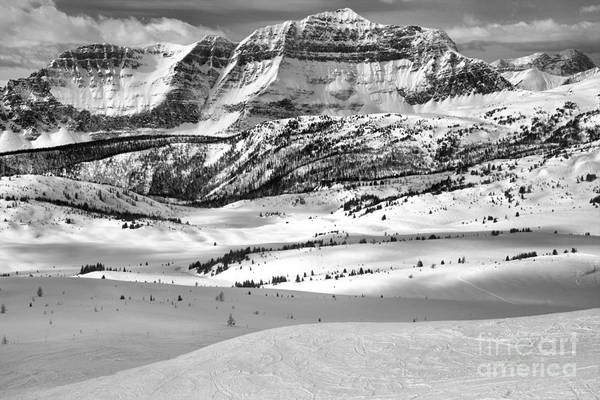 Photograph - Snow Drifts At The Base Of The Rockies Black And White by Adam Jewell