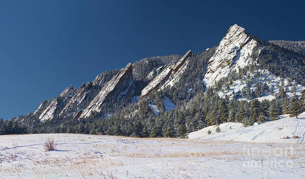 Photograph - Snow Dusted Flatirons Boulder Colorado Panorama by James BO Insogna