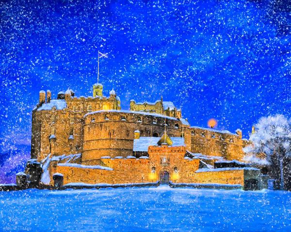 Mixed Media - Snow Falling On Edinburgh Castle by Mark Tisdale