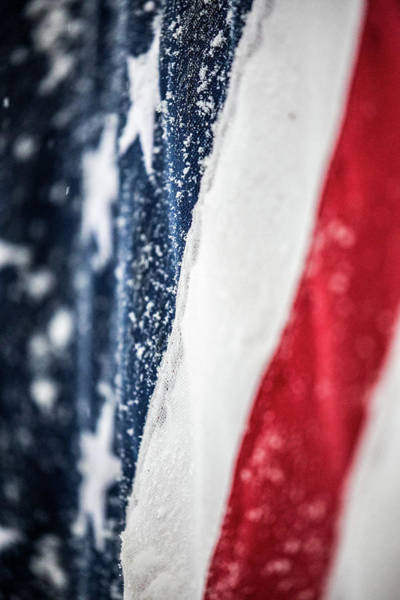 Photograph - Snow Flakes American Flag by Donnie Whitaker