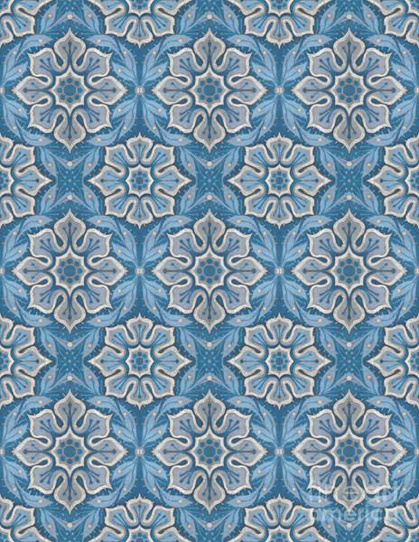 Mixed Media - Snow Flower Floral Pattern In Blue And Gray by Julia Khoroshikh
