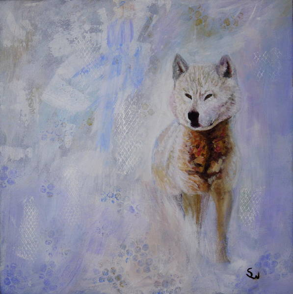 Painting - Snow Fox by Shirley Wellstead