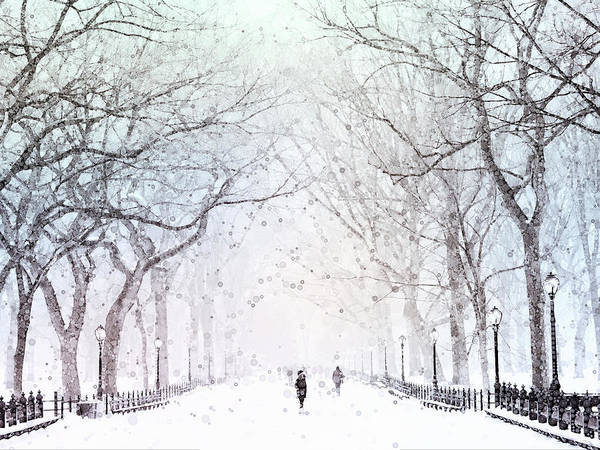 Mixed Media - Snow In The City by Susan Maxwell Schmidt