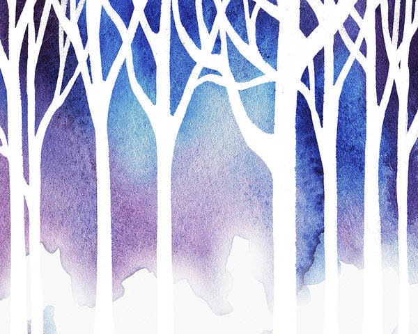 Into The Woods Wall Art - Painting - Snow In The Forest by Irina Sztukowski