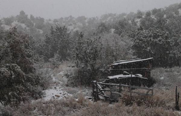 Photograph - Snow In The Old Santa Fe Corral by Christopher Kirby