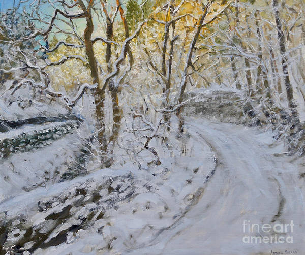 Grey Skies Wall Art - Painting - Snow In The Valley, Via Gellia, Derbyshire by Andrew Macara