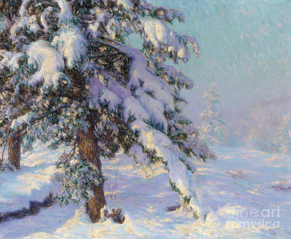 Icy Leaves Wall Art - Painting - Snow-laden by Walter Launt Palmer