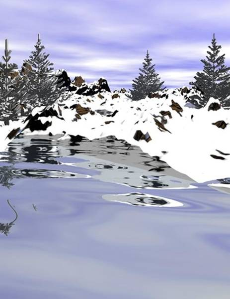 Digital Art - Snow Lake by Darren Cannell