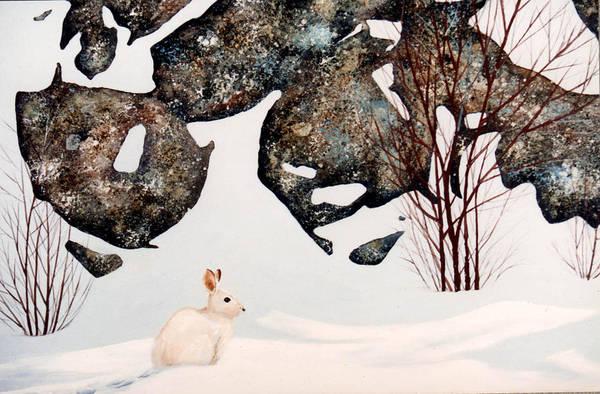 Painting - Snow Ledges Rabbit by Frank Wilson