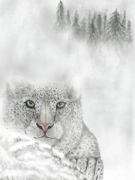 Digital Art - Snow Leopard by Darren Cannell