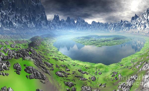 Wall Art - Mixed Media - Snow Leopard Mountain Lake by Heinz G Mielke
