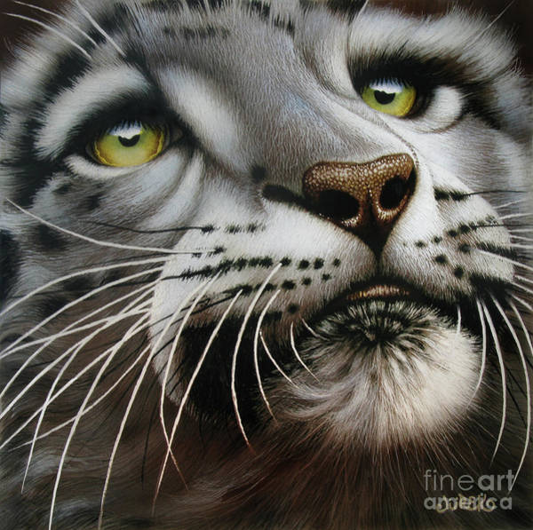 Wall Art - Painting - Snow Leopard On Glass by Jurek Zamoyski